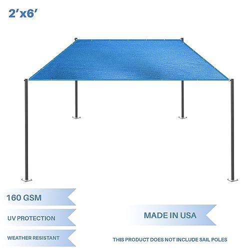E K Sunrise 2 x 6 Sun Shade Sail- Blue Straight Edge Rectangle UV Block Durable Awning Perfect for Canopy Outdoor Garden Backyard-180GSM-Customized