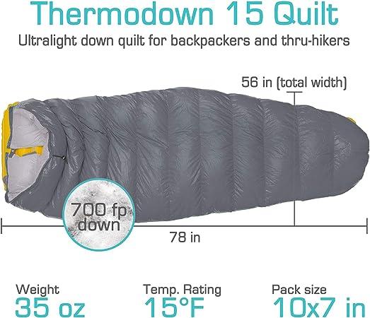 mochileros y hamacas. Paria Outdoor Products Saco para Dormir Thermodown Colcha de 3 Estaciones campamentos Clima fr/ío Ultraligero monta/ña 15 Grados