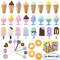 TEPSMIGO Plastic Ice Cream Play Food, 38 PCS Colored Pretend Toy Set Educational Gifts for Toddler Children Age 3+ Boys Girls