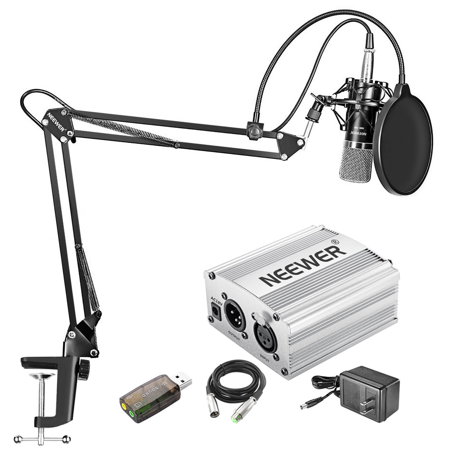 Neewer Home Studio NW-700 Condenser Microphone Kit with Shock Mount, NW-35 Boom Scissor Arm Stand, 48V Phantom Power Supply(Silver), XLR Cable, Pop Filter and Type-A USB External Stereo Sound Adapter