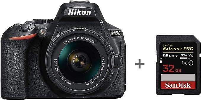 Nikon D5600 + AF-P 18-55 VR DSLR Camera,Black + SanDisk Extreme PRO 32 GB Memory Card