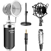 """Neewer® (1)NW-1500 Professional Desktop Broadcast & Recording Condenser Microphone with Audio Cable+(1)NW-02 Iron Desktop 4.7""""-7.5""""/12-19cm Mic Stand+(1)Metal Shock Mount+(1)Mic Wind Screen Filter Shied"""