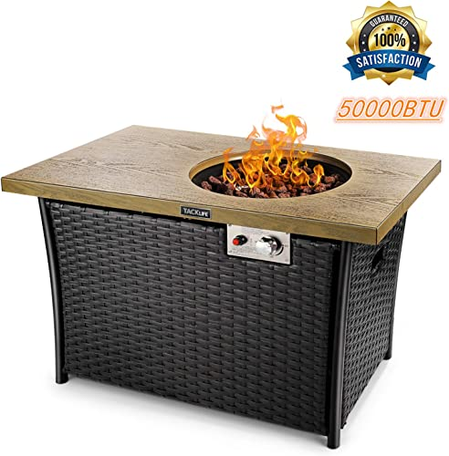 TACKLIFE Propane Fire Pit Table, 41 Inch 50000BTU Rectangle Fire Pit Table with Cover, Steel Imitation Wood Grain Surface and Plastic Rattan Coaming, ETL Safety Certified, Companion for Your Garden