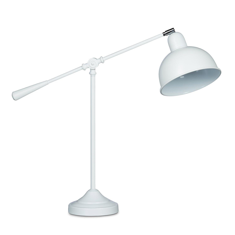 Relaxdays Schreibtischlampe GALANDO Gelenk, Vintage Design, HxBxT  77,5 x 71 x 19 cm, massives Metall, Leselampe, schlichtes Design, weiß