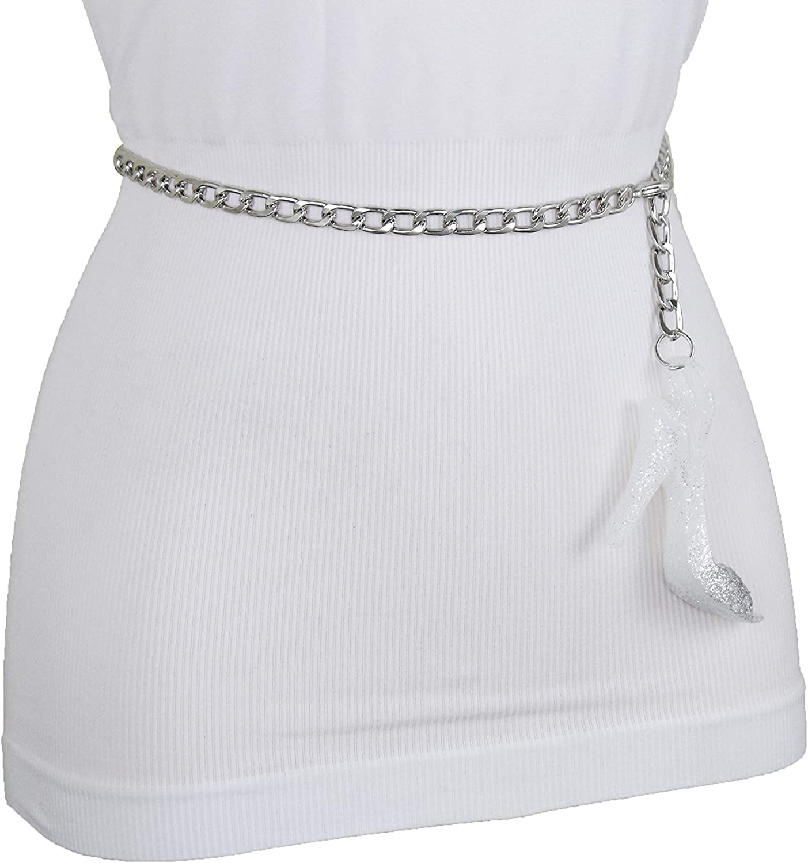 Women Skinny Waistband Belt Lion Charm Buckle Hot Silver Metal Chain Link XS S M