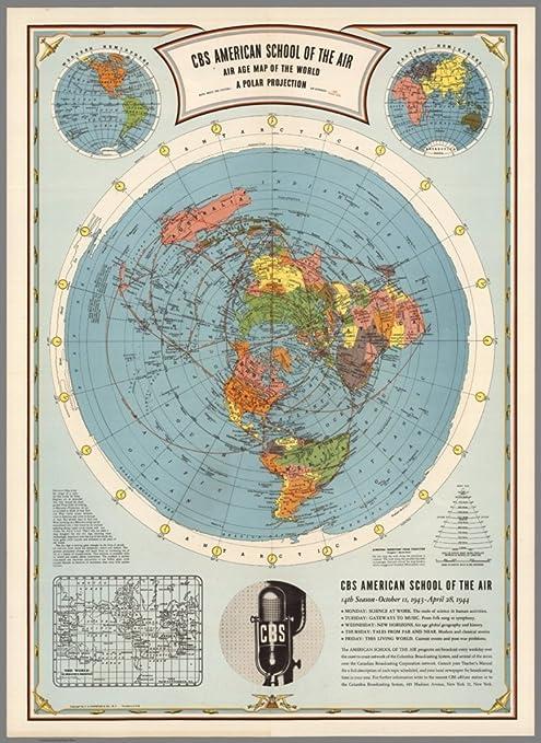 Flat Earth Map Image Amazon.com: Flat Earth CBS American School of The Air Map