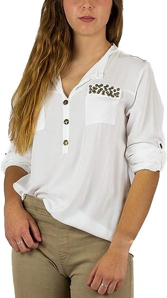 Mers Style - Camisa Verano Manga Larga Cuello V Blanca, Mujer: Amazon.es: Ropa y accesorios