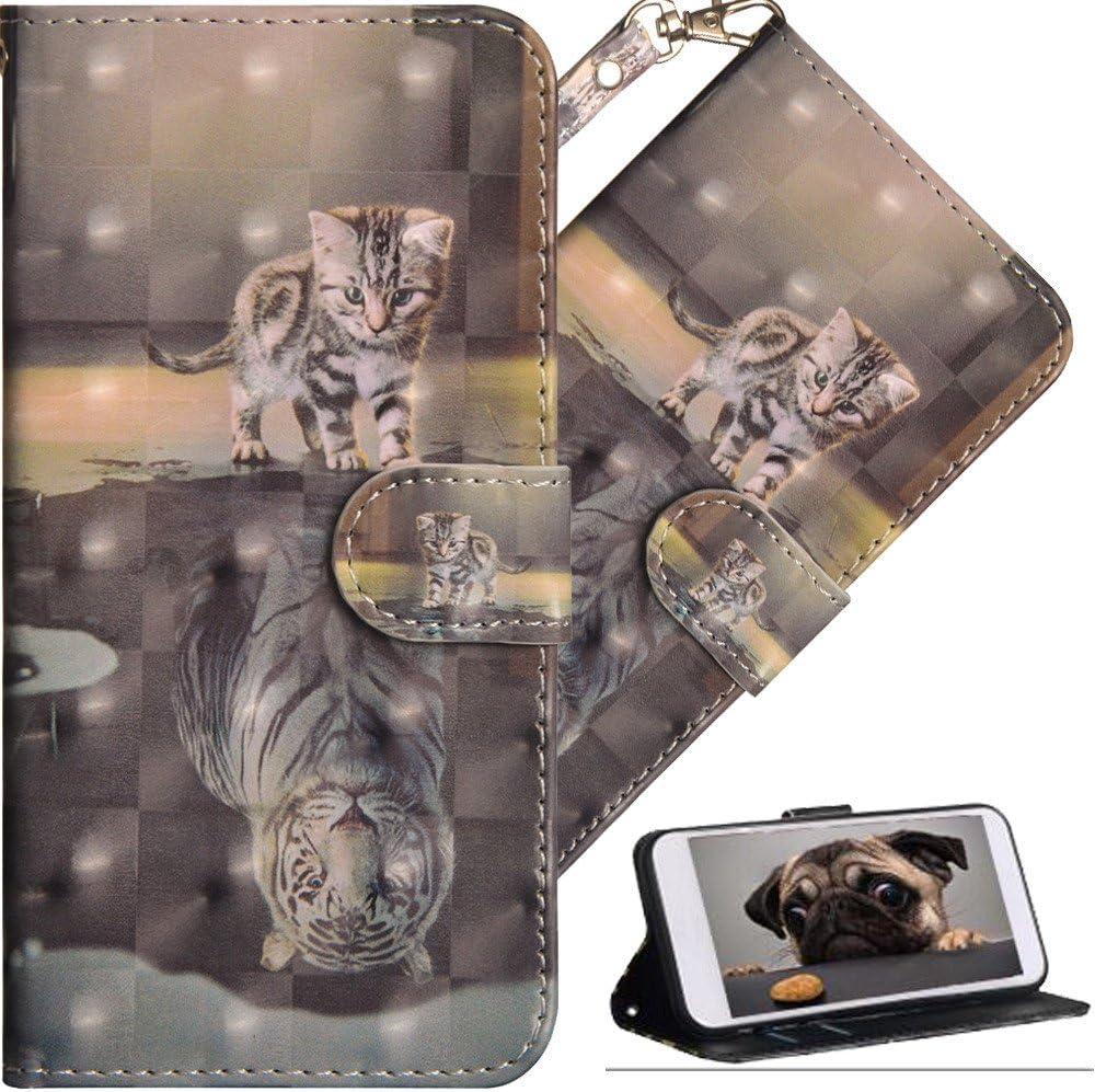HMTECHUS Moto E4 Plus case Premium 3D Painting Wallet Case Folio Flip PU Leather with Card Holder Slots Protective Cover for Motorola Moto E4 Plus E Plus (4th Gen.) Cat Tiger YX