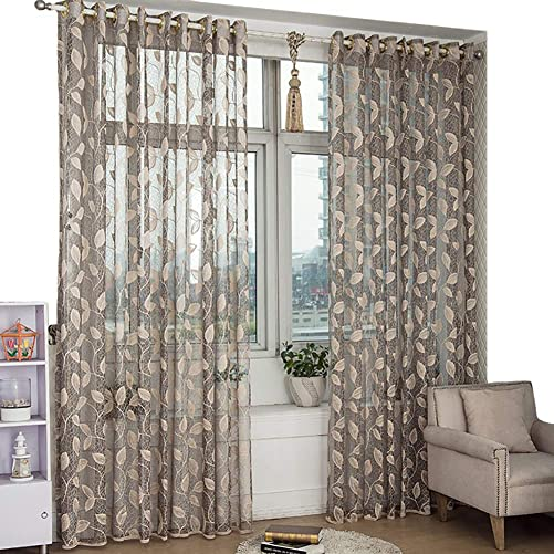 Gray White Sheer Curtains Leaves Jacquard Voile Window Panel for Liviging Room, Bedroom, Patio, Bay Windows, 60×106 Inches, Wrinkle Free, Two Panels
