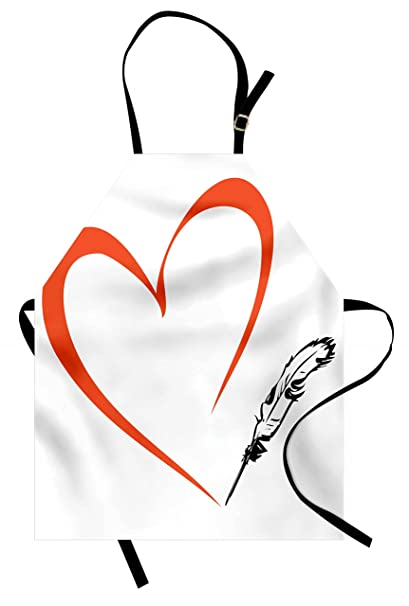 c806483df Lunarable Tattoo Apron, Rennaissance Writer Inspired Feather Pen Draws a  Red Simple Heart Work of