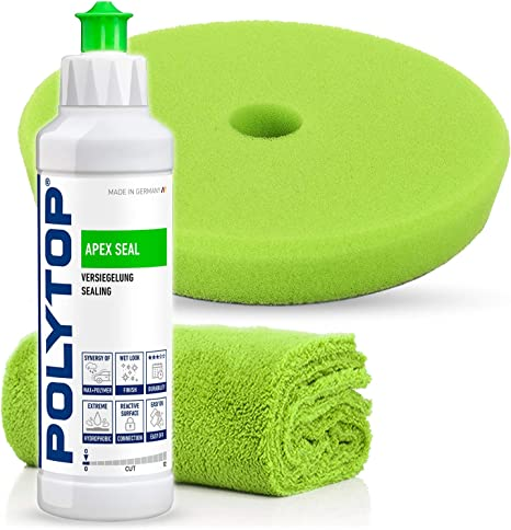 Detailmate Polytop Premium Politur Set Zur Professionellen Autoaufbereitung Exzenter Set Auch Für Einsteiger Geeignet Apex Seal Versiegelung Pad Poliertuch Auto