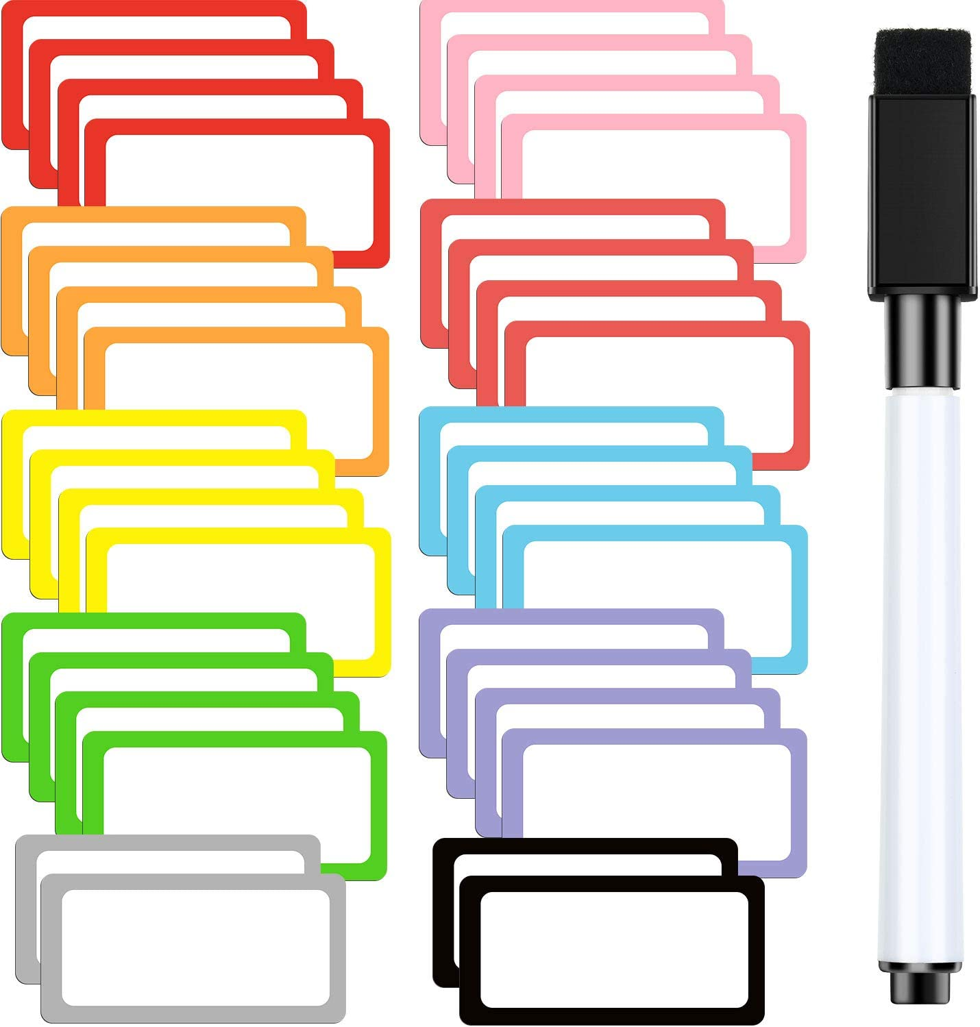 36 Pieces Magnetic Dry Erase Labels Name Plates Labels 1 x 2 Inch Sticky White Board Labels Dry Erase Magnets for Whiteboard, Refrigerator, Metal Shelves Crafts