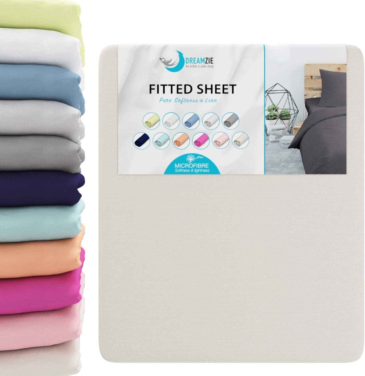 Dreamsoft Microfibre Nicky Soft Fitted Sheet 140-160x200cm Cream