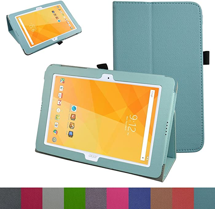 "Acer Iconia One 10 B3-A20 Case,Mama Mouth PU Leather Folio 2-Folding Stand Cover with Stylus Holder for 10.1"" Acer Iconia One 10 B3-A20 Android Tablet,Light Blue"