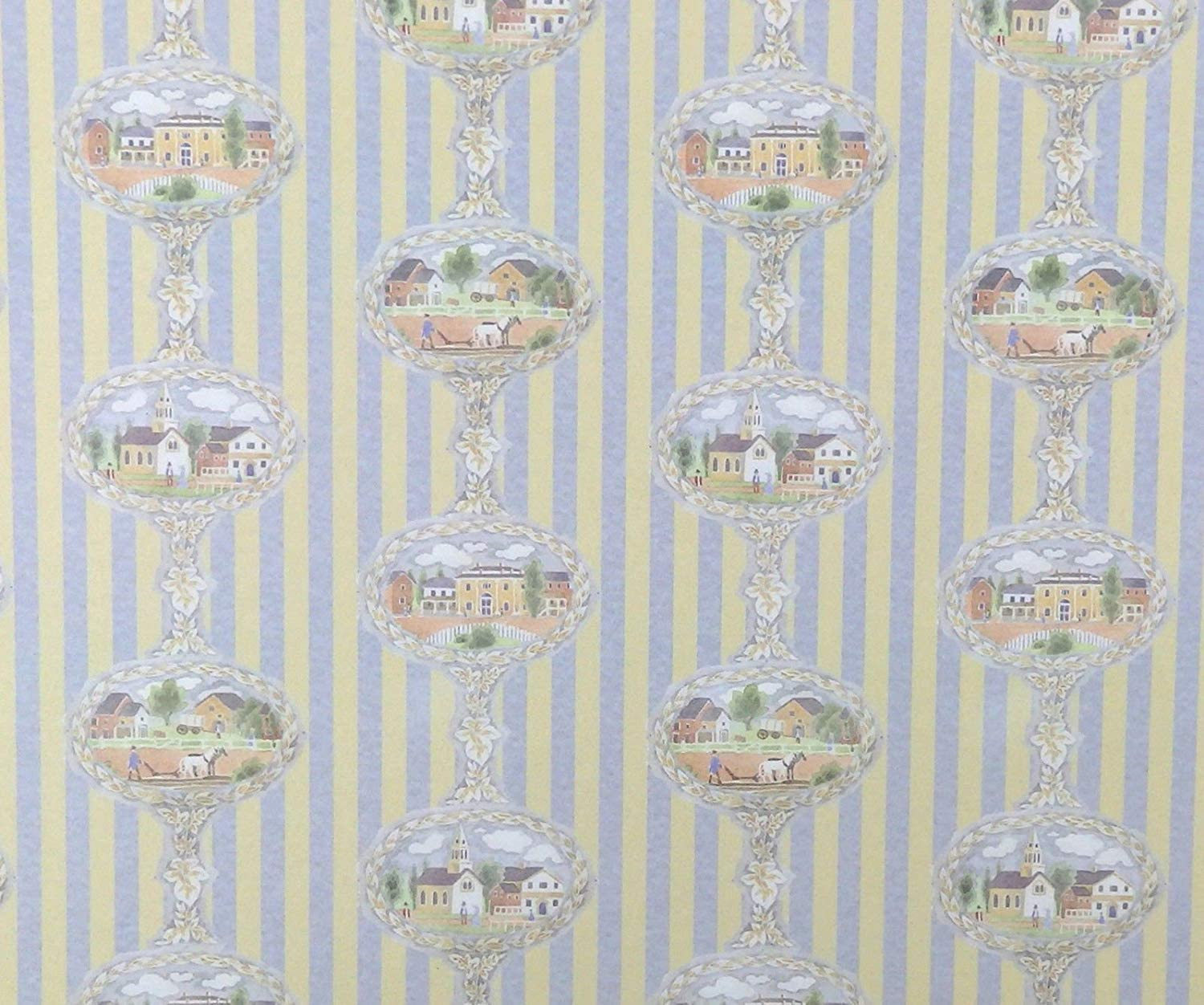 "1:48 or 1//4/"" Scale Dollhouse Miniature Wallpaper Beige Floral 2 Strips 0002390"