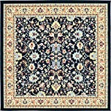 "Country Traditional 8 feet 0 inches Square (8' 0"" Square) Kashan Navy Blue Area Rug"