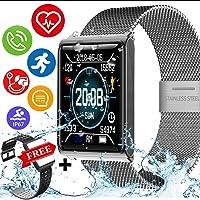 Kidaily IP68 Waterproof Sport Fitness Tracker - Smart Watch Men Women Heart Rate Blood Pressure Sleep Monitor Calorie Pedometer Smart Bracelet Outdoor Swim Run Tracker (2 -Black + Gray)