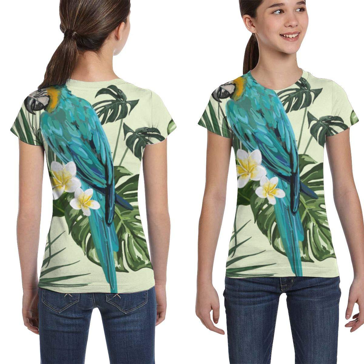 Casual Tunic Shirt Dress Girls Short Sleeve Parrot Palm Leaves Plumeria T-Shirts XS-XL