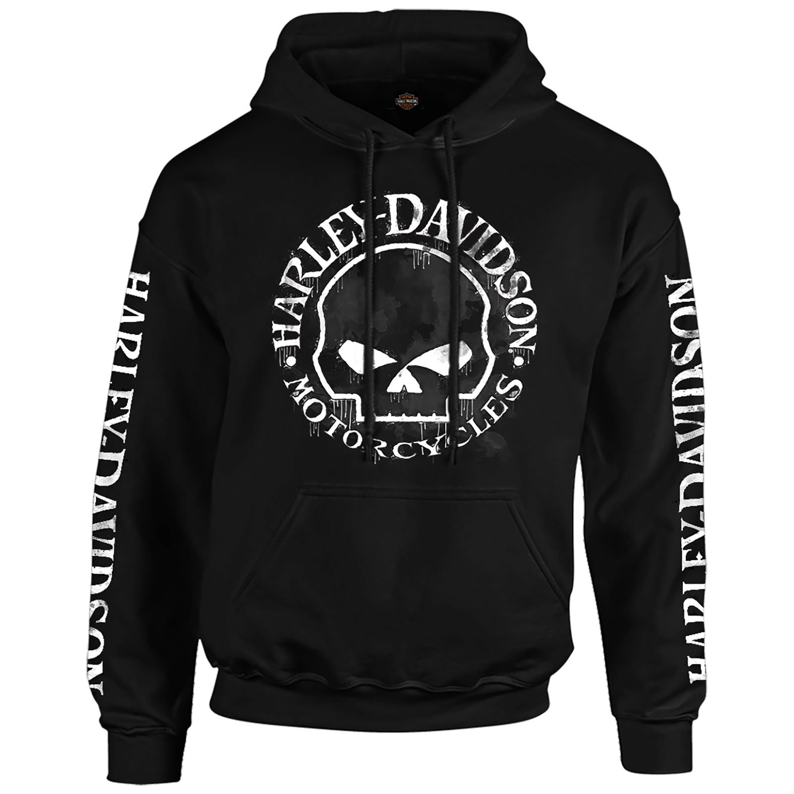 H-D Men's Hooded Pullover Sweatshirt - Handmade Willie | Overseas Tour 2X