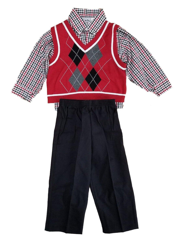 Happy Fella Toddler Boys 3pc Red Argyle Sweater Vest Plaid Shirt