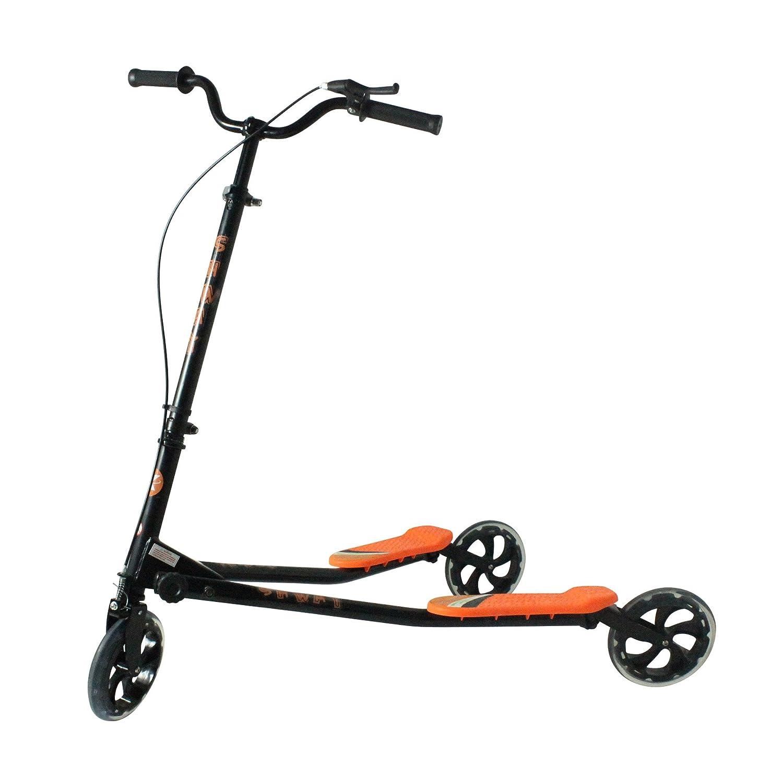 Kidzmotion Shway 3-Rad schwingen Roller Speeder drifter schwarzen Rahmen   Orange trim (14+ Jahre) XL