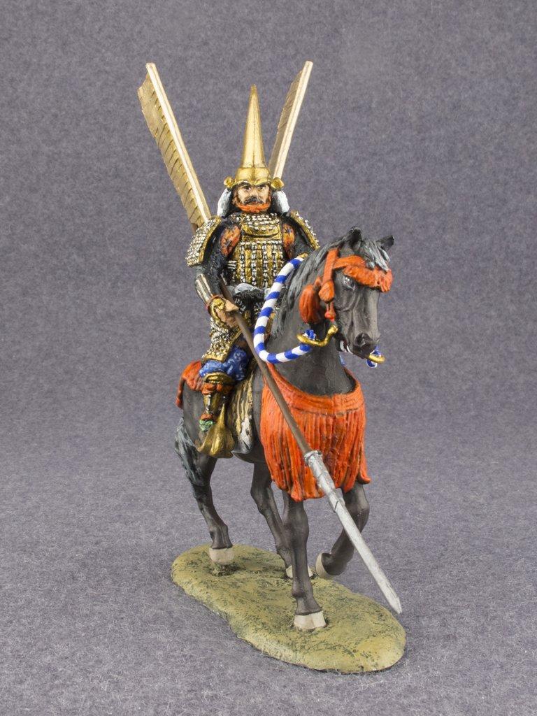 Caballería Medieval japonés Samurai w Yari, pintado a mano 54 mm de figuras de acción de metal tin Toy soldados tamaño 1/32 Escala para el hogar acentos de ...