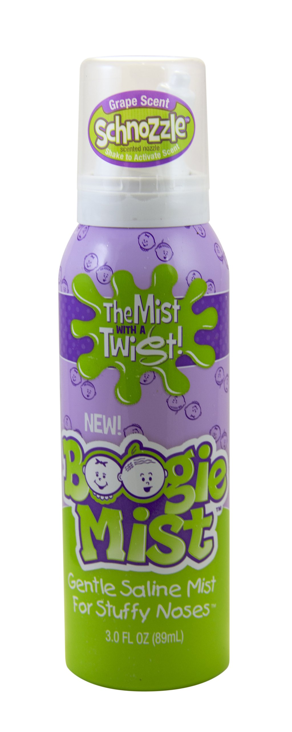 Boogie Mist Sterile Saline Nasal Spray for Baby and Kids Sensitive Noses Clear Congestion, Grape Scent, 3.1 Ounce (89g)