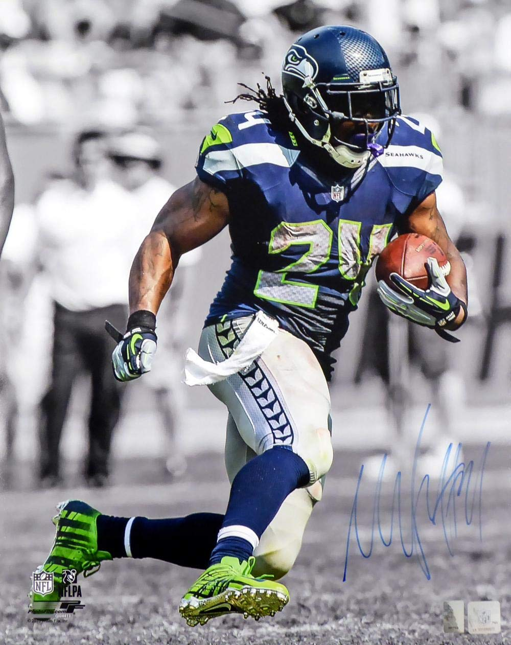 Signed Marshawn Lynch Photograph 16x20 Spotlight ML Holo Stock #130762 Autographed NFL Photos