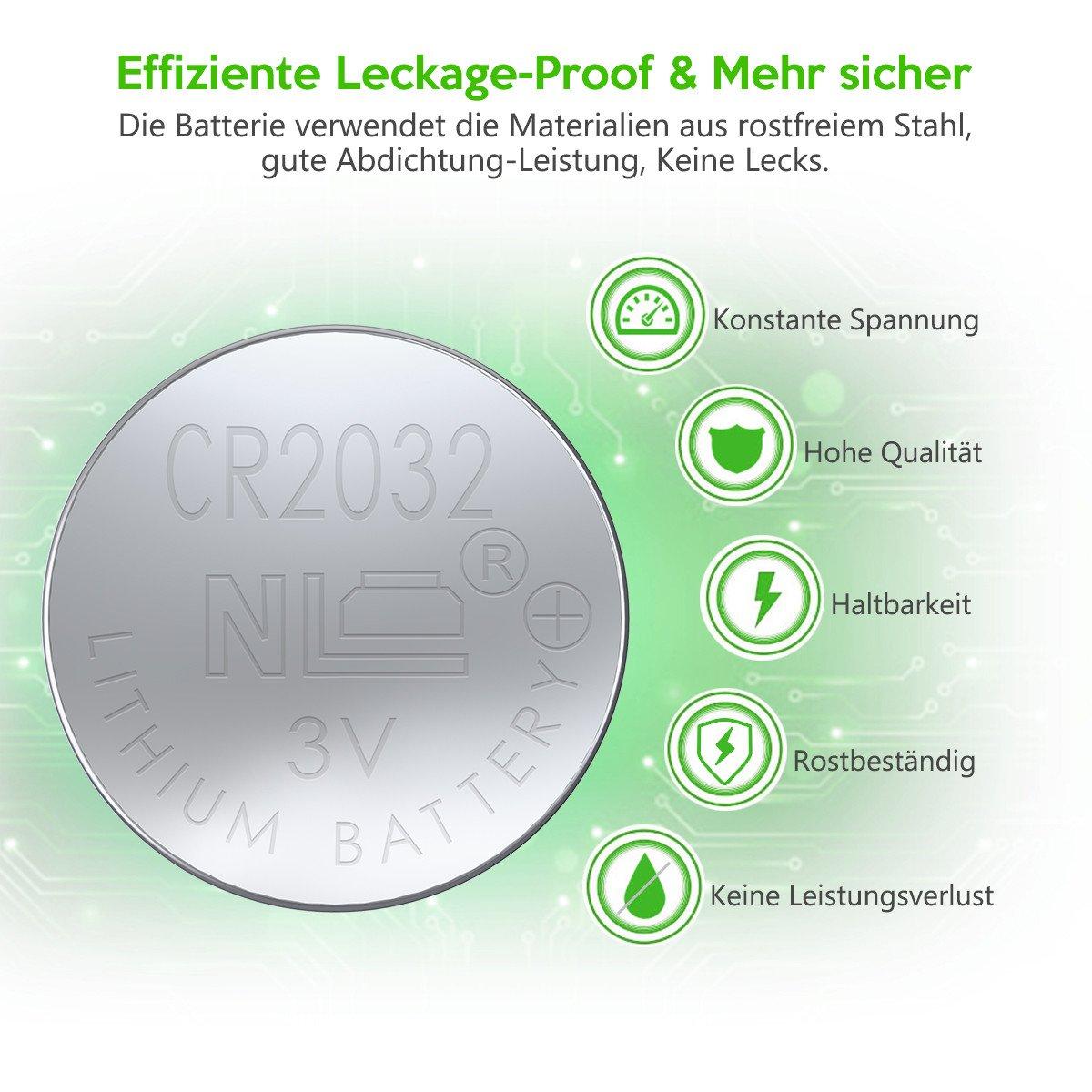 EBL 3V CR2032 DL2032 ECR2032 Kopfzelle Lithium Batterie 20 Stück