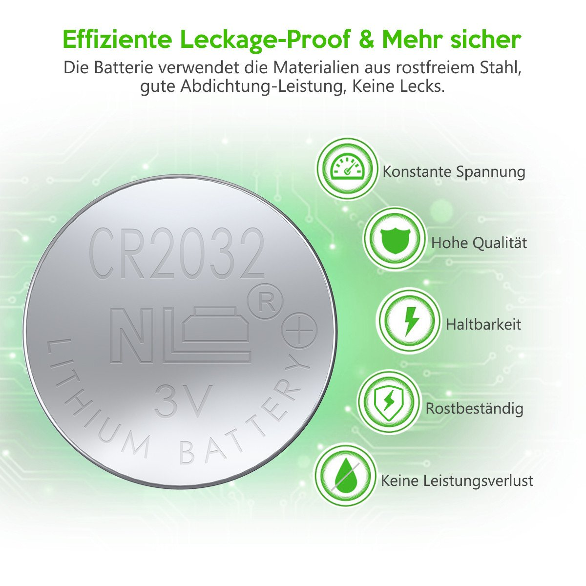 EBL Knopfbatterien CR2032 Lithium Knopfzelle 3Volt 5er Pack