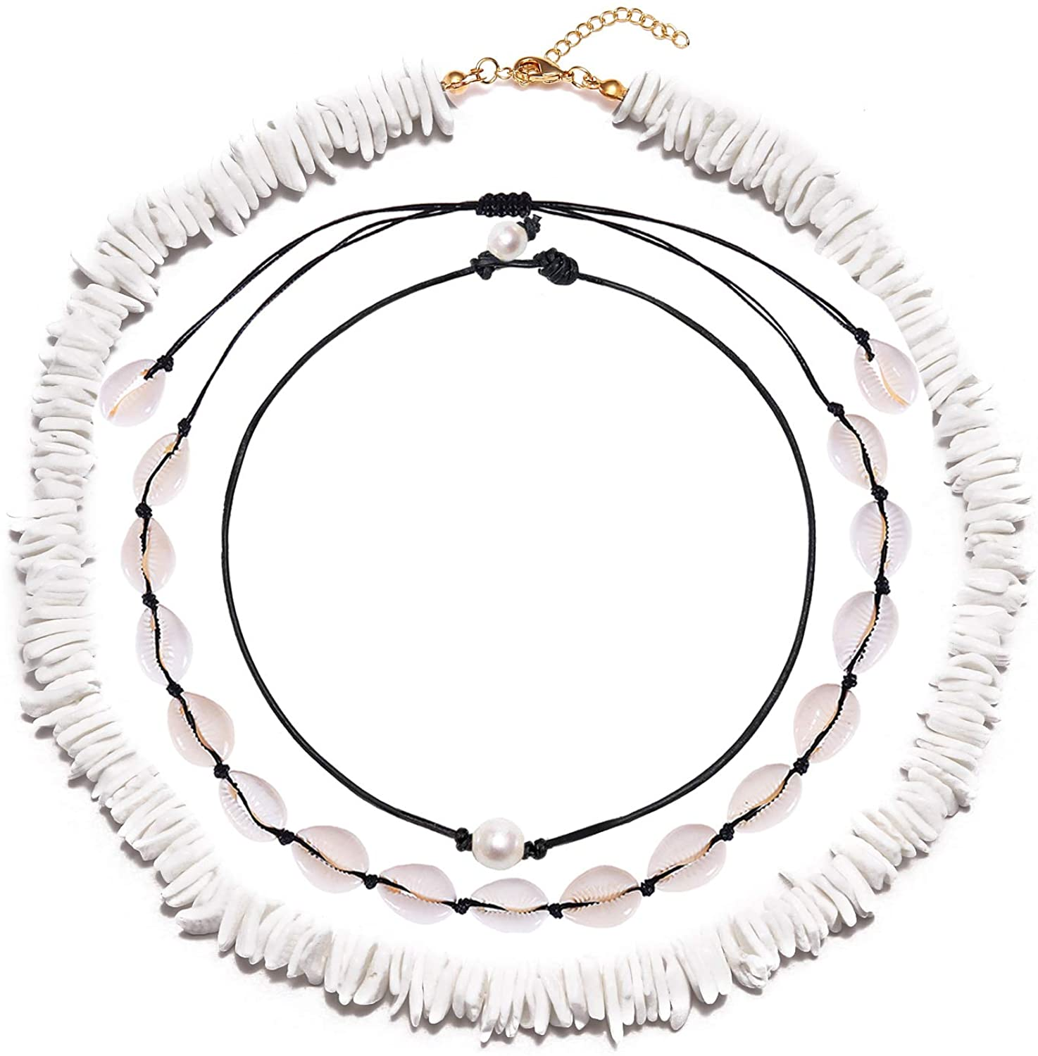 Highven VSCO Girl Shell Necklace 3Pcs Puka Shell Necklace for Women Pearl Choker Necklace Cowrie Shell Anklet Bracelet Beach Jewelry Set (style 1)