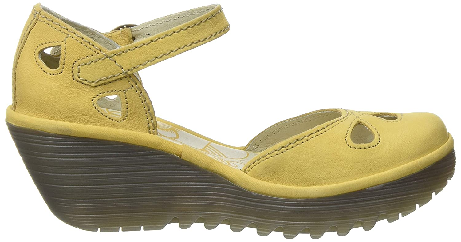 Fly London Yuna Black Patent Leather Womens Wedge Sandals Shoes