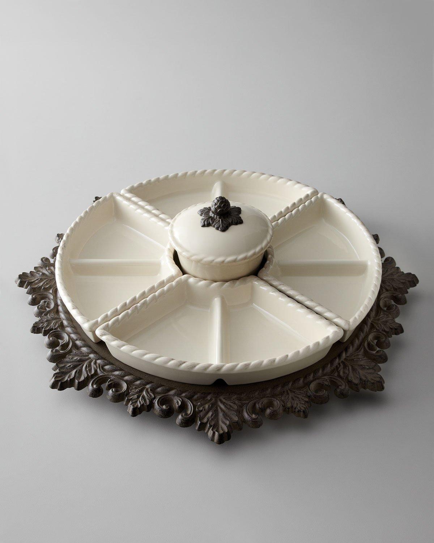 Ceramic Lazy Susan Crudite and Metal Base by Gracious Goods