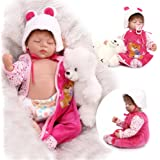 22inch Silicone New Reborn Baby Dolls Realistic Sleeping Girl Women Collect Fake Babies Kits Toys by NPK