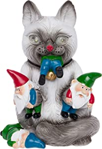 GreenLighting Solar Powered Outdoor Cat Massacre Gnome - Novelty Light Up Funny Garden Statue (Grey)