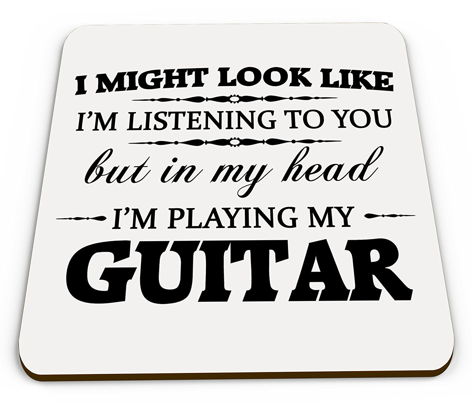 in My Head I'm Playing My Guitar Novelty Gift Coaster
