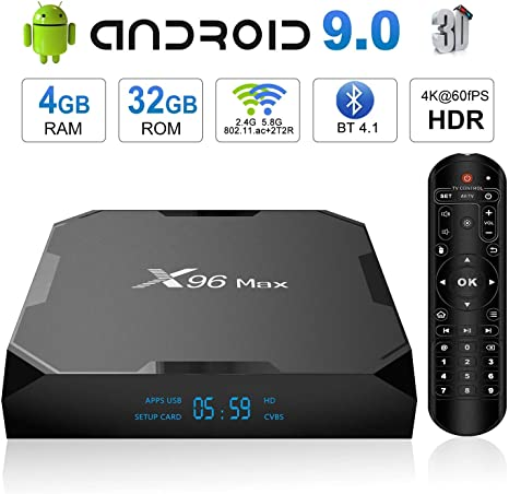 Android 9.0 TV Box,X96 MAX Smart TV Box Amlogic S905X2 Quad-Core 64 bits,4GB RAM+32GB ROM, BT 4.1, 4K*2K UHD@60fps H.265, Android Set-Top Box Soporte 2.4G / 5.0G Dual WiFi / 3D/ USB3.0: