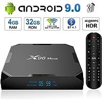 Android 9.0 TV Box,X96 MAX Smart TV Box Amlogic S905X2 Quad-Core 64 bits,4GB RAM+32GB ROM, BT 4.1, 4K*2K UHD@60fps H.265, Android Set-Top Box Soporte 2.4G / 5.0G Dual WiFi / 3D/ USB3.0