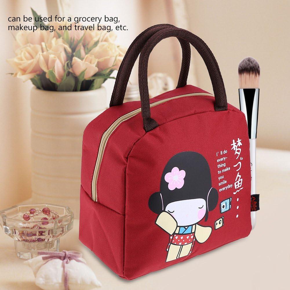 Fdit Lunch Bag Lunchbox Contenitore per Alimenti Isolato Contenitore Portatile con Manico Cinghie per Bambini Ragazze Adulti Red