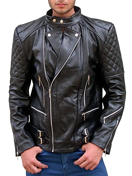 No Brand Men's Quilted Black Asymmetrical Closure Real Biker ... : quilted biker leather jacket - Adamdwight.com