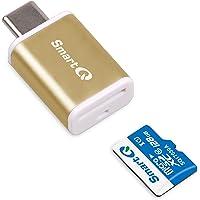 C352Type-C lector de tarjetas MicroSD con tecnología USB 3.0Super Speed, apoya microSDXC, microSDHC, y MicroSD Para Ventana, Mac OS X y Andriod, Dorado