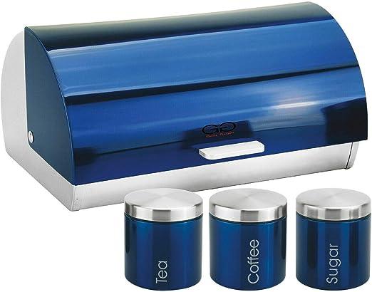 Caja metálica para pan, té, café, azúcar, tarro de cocina, 4 piezas, color azul: Amazon.es: Hogar