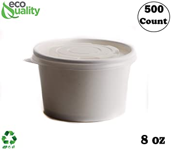 9f08a810d669 Amazon.com: [500 Count] 8 oz Disposable White Paper Soup Containers ...