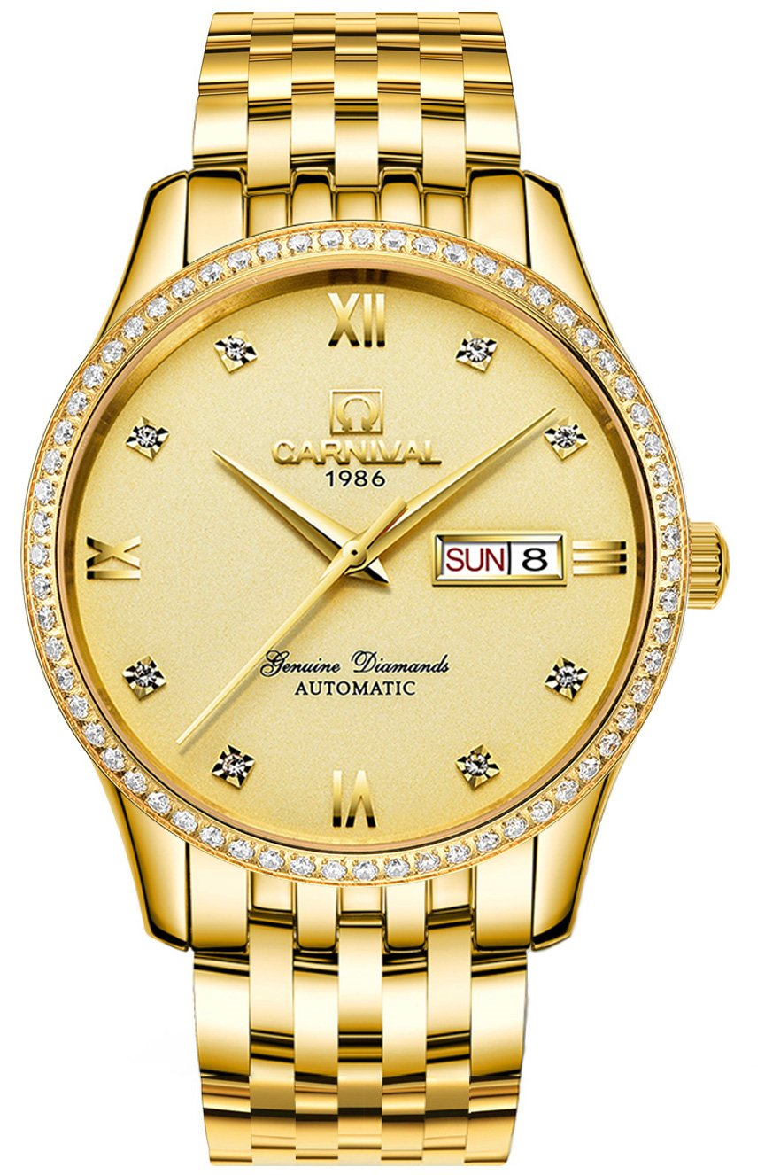 Men's Analog Luminous and Bezel Inlay Rhinestones Fashion Business Automatic Mechanical Calendar Watch (All Gold Color) by Carnival
