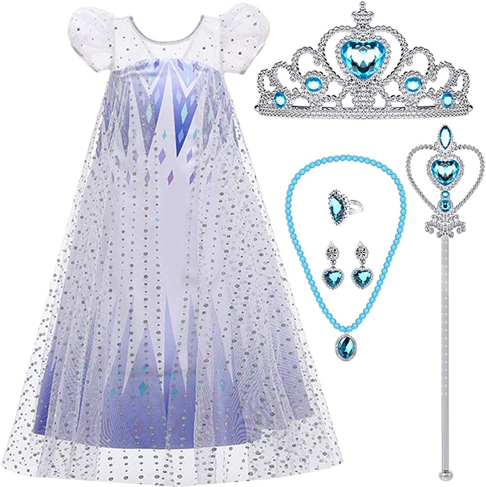 Girl Princess Snow Party Dress Queen White Costumes with Accessories