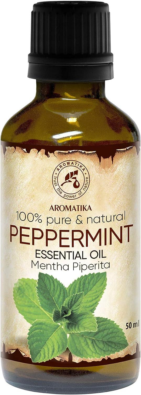 Aceite Esencial de Menta 50ml - Mentha Piperita - India - Aceite Menta para Buen Descanso - Alivio del Estrés - Sauna - Cuidado Corporal - Relajación - Spa - Difusor Aromático - Lámpara de Aroma