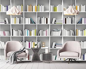 HHCYY Benutzerdefinierte Tapete Wandbild Buch Bibliothek Bücherregal  Magazin Regal Moderne Kunst Wandmalerei Wohnzimmer Studie 3D Wandpapier