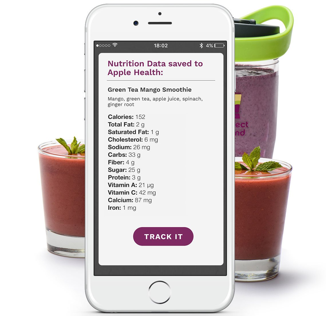 App/—Track nutrition and make delicious smoothies Perfect Blend 2.0 Smart Scale