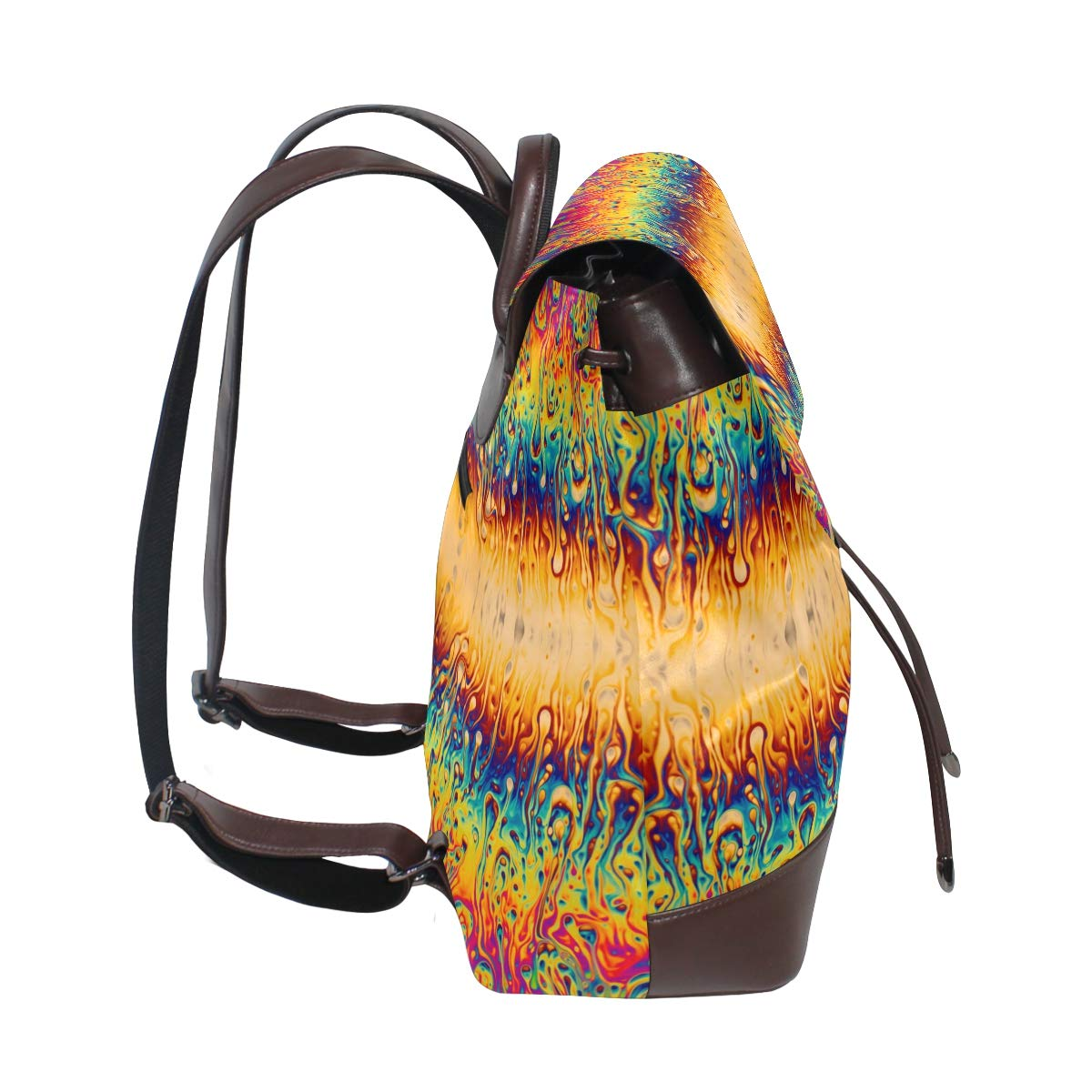 Unisex PU Leather Backpack Psychedelic Trippy Optical Illusion Print Womens Casual Daypack Mens Travel Sports Bag Boys College Bookbag