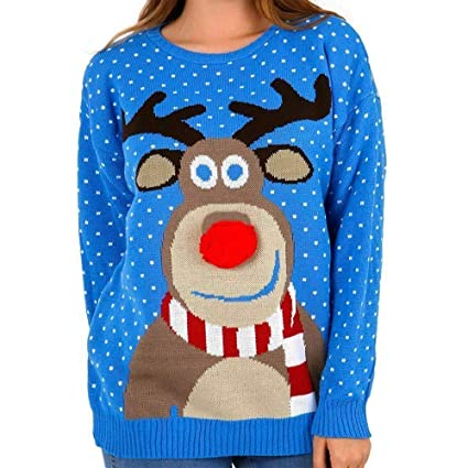 Angels UK Unisex Kids Pom Pom Xmas Jumper Girls Boys Rudolf Christmas Top Sizes 5-12 Years